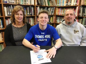DCHS Football Athlete Bradley Miller, a senior, signed Tuesday to play for Thomas More College in Kentucky. Miller's parents, Michael and Dee Dee Miller joined Bradley for the signing