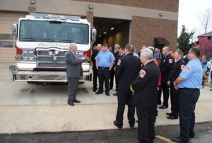 Dr. John Carpenter, Minister of the Smithville First United and the Bright Hill United Methodist Church began the dedication with a prayer and anointing of the new fire truck.