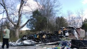 The 5th wheel camper of Nathan and Kimberly Hale of Lower Helton Road, Alexandria was destroyed by fire Thursday night, February 22