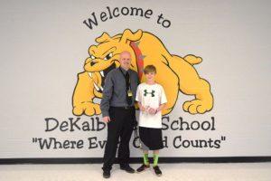 DeKalb West School 7th Grader Kaden Murphy won the Perfect Attendance Award for the 3rd nine weeks