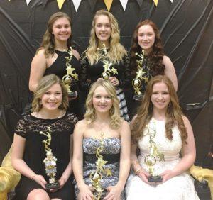 DCHS Tiger Football Cheerleader Award Winners: Seated-Shaunta Koegler, Breanna Gibson, Allison Maynard; Standing- Katherine Malone, Kiersten Griffith, Alley Sykes