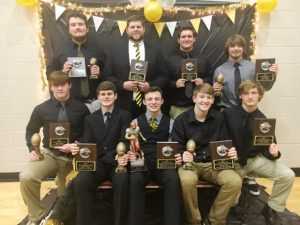 DCHS Tiger Football All Region 3 Class 4A Award Winners: Seated- David Bradford, Tyler Cantrell, Bradley Miller, Braxton Linder, Paxton Butler; Standing- Gage Delape, Assistant Coach Thomas Cagle, Nick May, and Jesse Smith