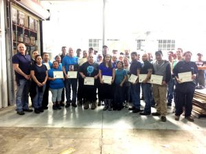 Tracy Foutch of Foutch Industries presented certificates to several employees for one to twenty years of service during an employee appreciation lunch Thursday
