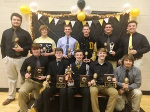 DCHS Tiger Football Award Winners: Seated- David Bradford, Tyler Cantrell, Bradley Miller, Braxton Linder, Jesse Smith; Standing- Gage Delape, Peyton Leaf, Andrew Fuson, Grayson Redmon, Nick May, and Isaac Cross