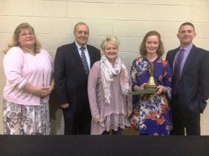 Lori Isabell, Roy N. Pugh of Liberty State Bank, Smithville Elementary Principal Julie Vincent, Teacher of the Year Heather Shehane, and Director of Schools Patrick Cripps