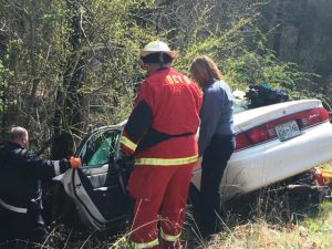 First Responders, EMS, and Firefighters at Scene of One Car Crash on Antioch Road Monday