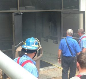 The DeKalb County Courthouse was evacuated June 14, 2016 after a newspaper recycling bin was set on fire in the vestibule near the first floor entrance.(Photo by Norene Puckett)