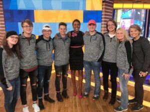 Virtual Enterprise students traveled to New York City recently to compete at the Virtual Enterprise International Youth Business Summit. Pictured here with Robin Roberts of ABC's Good Morning America