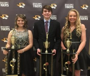 2018 DCHS Basketball Most Valuable Cheerleader Hannah Evans and Most Valuable Basketball Players Marshal Evins and Emme Colwell