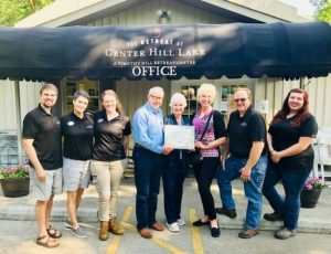 The Retreat at Center Hill Lake Staff - Kyle Thompson, Britt Russo, Jordan Campbell; Founders of the Timothy Hill organization - Jerry Hill & Fern Hill; Chamber Director Suzanne Williams; Retreat at CHL Staff Jamie Campbell and Madison Maryfield.
