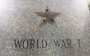 Photo shows missing bronze star from veteran's memorial monument at Green Brook Park