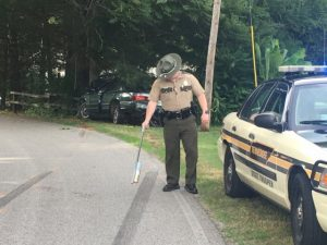 Trooper Jason Cobble of the Tennessee Highway Patrol Investigating One Car Crash