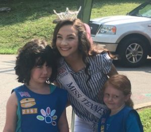 Miss Tennessee's Outstanding Teen Mary Humphrey poses for pictures with kids at Ribbon Cutting for the Story Book Trail at Edgar Evins State Park