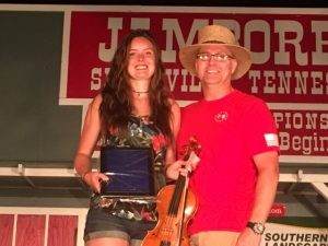 Jamboree President and Coordinator Sam Stout Presents Berry C. Williams Memorial Award to Maddie Denton