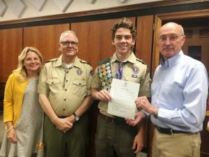 County Mayor Tim Stribling Presents Resolution Honoring Eagle Scout Thomas Webb. Also pictured are Webb's parents Lora and Alan Webb