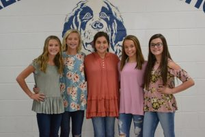 DeKalb Saints Homecoming Court: (left to right) Cadee Griffith, Carlee West, Kylee Cantrell (Queen), Morgan Walker, and ElainaTurner