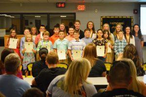 Group shot of new Jr. Beta members inducted at DeKalb West School