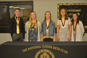 Jr. Beta Officers were inducted during a ceremony Monday night. Pictured from left to right are Brett Walker, Aly Griffith, Aniston Farler, Madison Martin, and Kortnee Skeen. President Isaac Brown not present