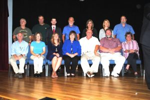County Commission: seated left to right- Dr. Scott Little, Beth Pafford, Jenny Trapp, Janice Fish-Stewart, Dennis Slager, Myron Rhody, and Julie Young. Standing left to right- Jerry Adcock, Jeff Barnes, Matt Adcock, Bobby Johnson, Anita Puckett, Sabrina Farler, and Bruce Malone.