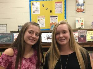 DeKalb Saints Homecoming Court from DeKalb West School: (left to right) Kayleigh Overstreet and Aly Griffith