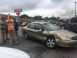 Five people were injured in a noon time wreck Monday at the intersection of South Mountain and Broad Street