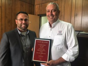 Alderman Jason Murphy, whose term expired, was presented a plaque by Mayor Miller for his 6 years of service