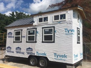 """Students in the DCHS Construction Technology (building trades) program are building their first """"Tiny House""""."""