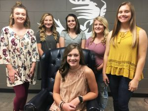 2018 DCHS Homecoming Queen, Senior Lydia Ann Brown (seated) and her court: Left to right- Sophomore Abigail Lawson, Freshman Haidyn Renee Hale, Senior Madison Suzanne Judkins, Senior Zoe Hannah Evelyn Maynard, and Junior Katherine Anne Malone