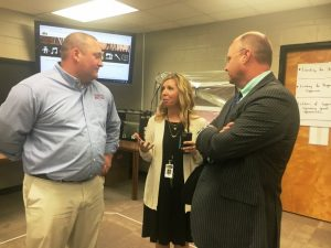 Jenny Norris, Assistant DCHS Principal speaks with Alex Woodward (left) and Chad Colwell of Wilson Bank & Trust during their tour of the Makerspace Thursday at DCHS