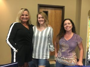 Rhonda Harpole, Katie Parker, and Norene Puckett of the DeKalb County Recovery Court at Health Fair Friday