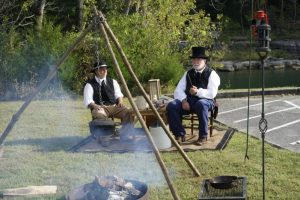 Adam Dale, the founder of the town of Liberty and his friend, Bro. John Fite as portrayed by Charles Robinson and Miles Malone, both of Liberty (photo by Mark Leckington)