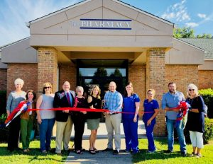 Chamber Ribbon Cutting at The Pharmacy at Family Medical Center Tuesday: Chamber Director Suzanne Williams; Chamber Board Member Jane Brown; Chamber President Rita Bell; Alex Woodward, Wilson Bank & Trust; Attorney Sarah Cripps; Pharmacists Susannah Cripps Daughtry & Collin Cantrell; Leslie Rich, Certified Phamacy Technician; Julia Golden, Pharmacy Technician; Smithville Mayor Josh Miller; Chamber Board Member Lisa Cripps