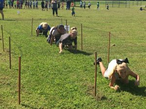 Kids on Fun Run obstacle course at Northside Elementary School