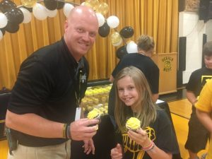 DeKalb West School held an assembly to celebrate and recognize teachers and students for being a 2018 REWARD School. Students were treated to cupcakes and teachers to certificates for their hard work.