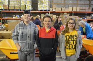Pictured left to right are DeKalb West School Junior Beta members Karson Smallwood, Kolton Slager, and Chloe Dies,