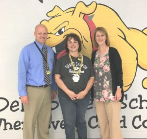 Lori Pryor named Teacher of the Month for October at DeKalb West School. Pictured with Principal Sabrina Farler and Assistant Principal Joey Agee