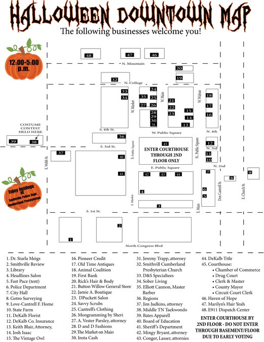 "Map for ""Trick or Treat Halloween Downtown"""