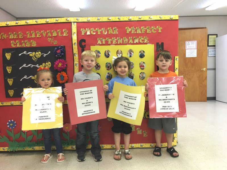 Smithville Head Start students of the month with perfect attendance Paisley Hale, Taylor Belcher, Trinity Orcutt, Blain Bailey