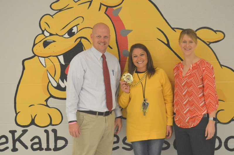 Amy Pack Young is the Teacher of the Month for November at DeKalb West School, an honor bestowed upon her by her peers. Pictured with DWS Principal Sabrina Farler (right) and Assistant Principal Joey Agee