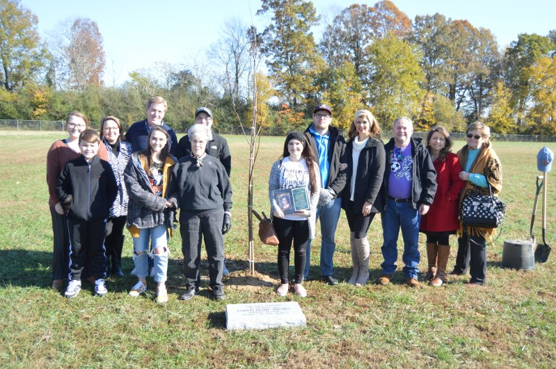 Members of Karen Jacobs' family at tree planting ceremony