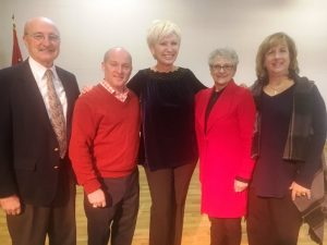 Chamber Prayer Breakfast: County Mayor Tim Stribling, Entertainer Darrin Vincent, Chamber Director Suzanne Williams, Guest Speaker Nancy Trapp, and Chamber President Rita Bell