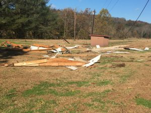 debris behind the Campbell home