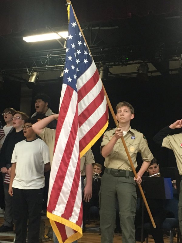 Members of Boy Scout Troop 347 post colors during veterans tribute program Friday hosted by the American Legion Post 122