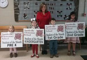 Smithville Elementary Students of the month: Pre-K: Isabella Newby; Kindergarten: Carleigh Tramel; 1st grade: Austin O'Conner; 2nd grade: Payton Pedigo