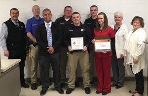 Sheriff Department Employees and Jail Nurse Honored with Life Saving Award. Back Row: Sheriff Patrick Ray, Jail Sergeant Anthony Boyd, Correctional Officer Chris Singleton, Correctional Officer Justin Bass and ACH Regional Manger Karen Fowler. Front Row: Chief Deputy Robert Patrick, Correctional Officer Jordon Whitehead, ACH Nurse Christina Arnold, ACH Assistant Regional Manger Dawn Voss