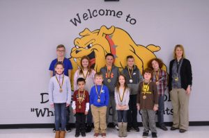 DeKalb West Students of the Month for December: Pictured first row left to right: Hannah Brown, Zayden Davenport, Holden Leiser, Hailey Brown, and Josh Floyd. Pictured back row left to right: Bralin Moss, Camille Barton, Kolton Slager, Cameron Stanley, Owen Coffee, and Principal Sabrina Farler