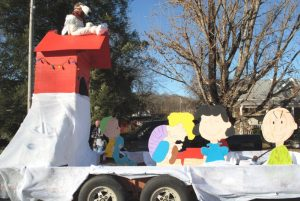 Oakley's Thrift Store of Smithville took 1st place at Liberty Parade for their float entry depicting the peanuts comic strip characters in the Liberty Christmas Parade