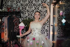 """Christmas on the Square: MOST CREATIVE: Anna Rachel Blair is a LIVE model at Jamie A Boutique with the theme """" Sugar Plum Fairy Music Box"""""""