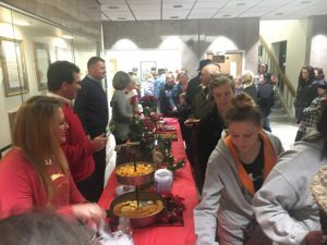 County Officials serving refreshments during Open House at the Courthouse in conjunction with Christmas on the Square in 2018