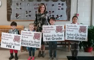 Smithville Elementary School December students of the month: Pre-K- Leonardo Cortes, Kindergarten – Chloe Guess, 1st Grade – Collin Harper, and 2nd Grade – Edith Yahira Granados